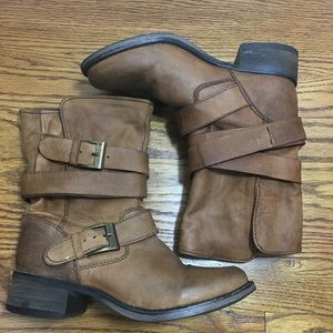 steve madden brewzzer Brown Leather Moto Boots  6